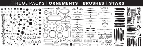 Fotografie, Tablou Full Pack Ornements Brushes stars