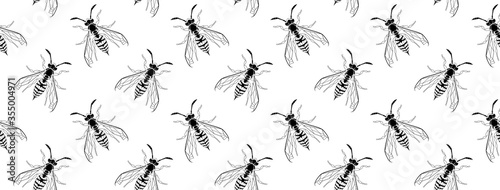 Dark gothic asp insect seamless wallpaper Canvas Print
