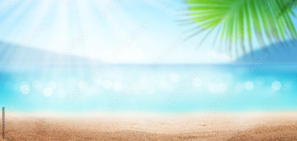 Fototapeta Summer tropical sea, sunny sky and sand beach