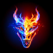 Fire Dragon Head In Blue And R...