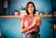 Woman Drinking Fresh Raw Juice. Healthy Lifestyle