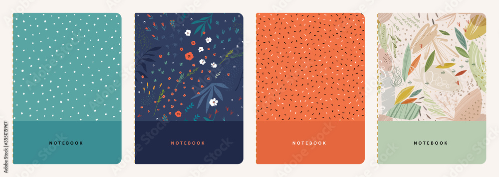Fototapeta Trendy covers set. Cool abstract and floral design. Seamless pattern and mask used, easy to re-size. For notebooks, planners, brochures, books, catalogs etc.