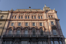 Building Facade On Street Of Szabad Sajto During Sunset In Budapest