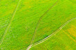 Leinwandbild Motiv Rural dirt roads for tractors in green grass fields in summer, aerial view of heights.