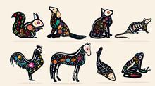 Set Of Eight Pet Dia De Muerto...