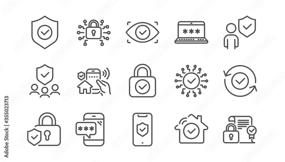 Fototapeta Security line icons set. Cyber lock, unlock, password. Guard, shield, home security system icons. Eye access, electronic check, firewall. Internet protection, laptop password. Linear set. Vector