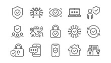 Security Line Icons Set. Cyber...