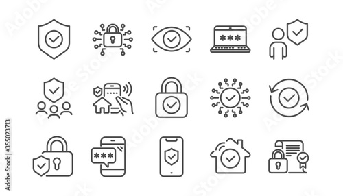Security line icons set Wallpaper Mural