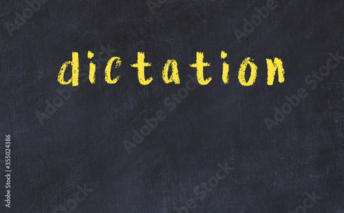 College chalk desk with the word dictation written on in Canvas Print