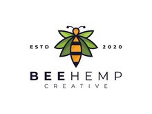 Modern Bee Cannabis Hemp Leaf  Marijuana Logo  Inspiration