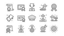 Success Line Icons Set. Certif...