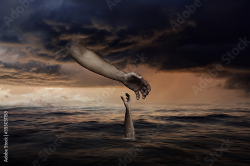 God Hand from Heaven Helps to Sinking Human Fototapet