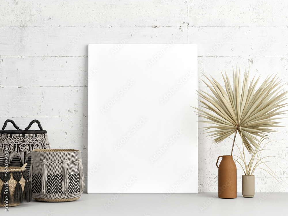Fototapeta Home interior  mock-up poster on white concrete wall with home decoration, Scandinavian design, 3d render, 3d illustration