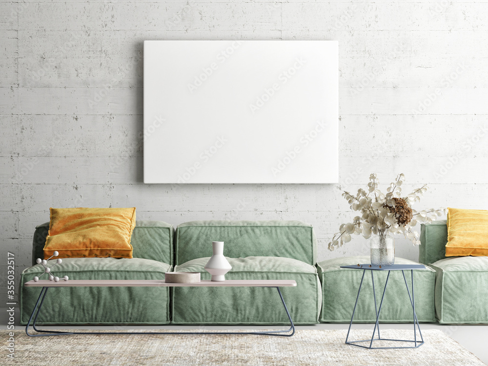 Fototapeta Home interior mock-up poster on a concrete wall, sofa and decor in Living room, 3d render, 3d illustration
