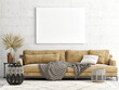 Leinwanddruck Bild - Home interior mock-up poster on a concrete wall, sofa and decor in Living room, 3d render, 3d illustration