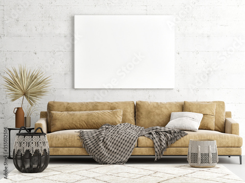 Valokuva Home interior mock-up poster on a concrete wall, sofa and decor in Living room,