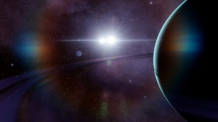 blue gas giant in space 3d render