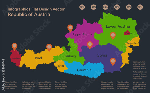 Obraz Infographics Austria map, flat design colors, names of individual administrative division, blue background with orange points vector - fototapety do salonu
