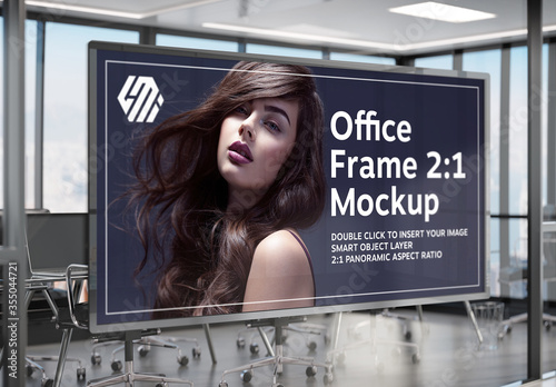 Obraz Frame Hanging on Office Glass Window Mockup - fototapety do salonu