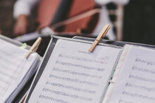 Sheet Music Close Up Pegged To Stand