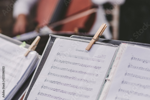sheet music close up pegged to stand Canvas Print