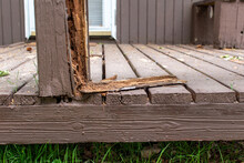 Old Rotten Deck Rail That Is Falling Apart, Dangerous And Needs Repaired Or Replaced.