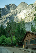 Yosemite National Park, CA / Aug. 22, 2019: A Vertical Image Of A Cabin At Curry Village