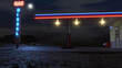 3D rendered night scene with gas station at the Arizona desert