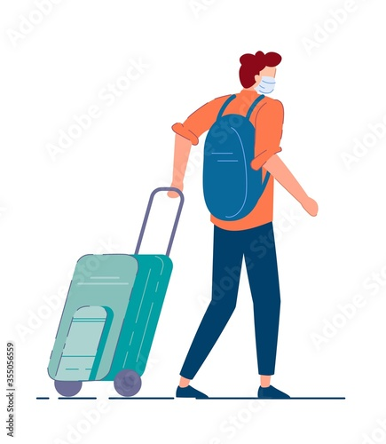 Obraz Tourist with luggage. Man tourist in mask carrying backpack, walking and pulling luggage wheel suitcase during coronavirus pandemic. Traveler passenger person cartoon character, tourism concept - fototapety do salonu