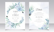 Elegant wedding invitation cards template with watercolor flower and leaves