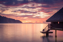 Sunset At An Overwater Bungalo...