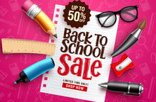 Back To School Sale Vector Banner. Back To School Sale Discount Text In White Paper With Educational Elements & Objects In Colorful Pink Pattern Background For Education Promotion. Vector Illustration