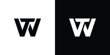 Initial Letters WT, TW Logo - Unique Vector Symbols