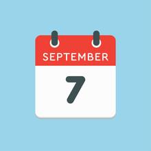 Calendar Icon Day 7 September,...