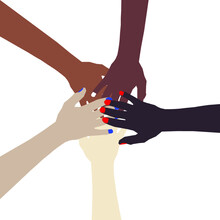 Group Of Five Multi-Colored Hands Joined In A Circle In Unity