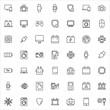 Modern thin line icons set of electronics.