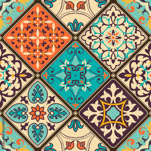 Tapety do jadalni  seamless-colorful-patchwork-tile-with-islam-arabic-indian-ottoman-motifs-majolica-pottery