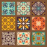 Fototapeta Kuchnia - Collection of 9 colorful tile with Islam, Arabic, Indian, Ottoman motifs. Majolica pottery tile. Portuguese and Spain azulejo. Ceramic tiles. Vector illustration