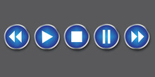 Buttons Of A Play Media Player. Vector Blue Audio Navigation Icon.