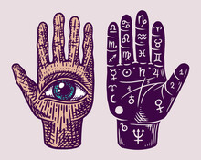 Mystical Magic Palmistry. Esoteric Or Alchemy Occult Sketch For Tattoo. Fate In The Palm Of Your Hand. Hand Drawn Engraved Illustration.