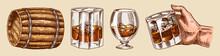 Vintage Whiskey Set. Wooden Ba...