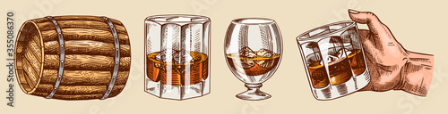 Obraz Vintage Whiskey set. Wooden barrel, scotch and bourbon, wheat and rye, Glass bottle, Victorian man, cheers toast. Strong Alcohol drink. Hand drawn engraved sketch for poster, badge. American symbols. - fototapety do salonu
