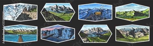 Obraz na płótnie Mountain landscape backgrounds set