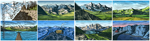 Obraz Mountain landscape backgrounds set. Alpine peaks and Traveler with a tent. Vintage Mount. Travel concept. Hand drawn engraved sketch for outdoor posters, climbing banners, logo or badge.  - fototapety do salonu