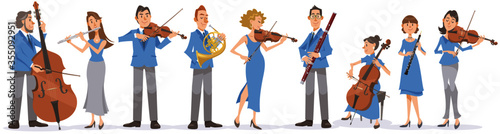 Collection of musicians on white background Wallpaper Mural