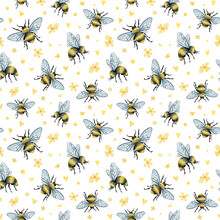 Watercolor Seamless Pattern With Honey Bee And Yellow Flowers. Cute Bug, Insect For Baby Textile, Wallpaper, Decoration, Scrapbooking
