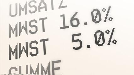 ngb8 NewGraphicBanner ngb - german: Kaufbeleg, Kassenbon, Mehrwertsteuer, Mehrwertsteuersatz von 19 % auf 16 Prozent und von 7 auf 5 % gesenkt - Quittung. - financial / invoice - print. deutsch g9715