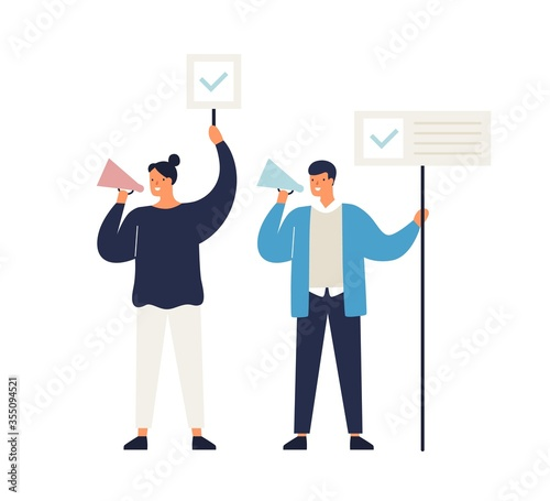 Photo Man and woman political agitators with megaphone and banners vector flat illustration