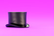 canvas print picture - Magic Hat Cylinder on violet background. Concept of magic and gentleman fashion accesory. 3D render Illustration
