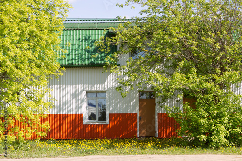 Multicolored household metal steel structure prefabricated modular construction, warehouse, barn or structure Fototapeta
